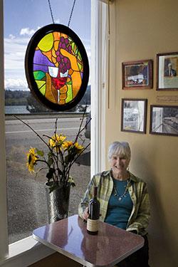 Faye Brehm in wine tasting room